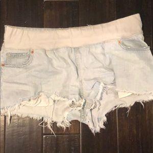 ASOS denim maternity cutoff shorts
